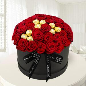 Ferrero Rose Hat Box - Red Roses - Luxury Roses - Luxury Red Roses - Flowers in a Hat Box - Luxury Flowers - Luxury Valentine's Flowers