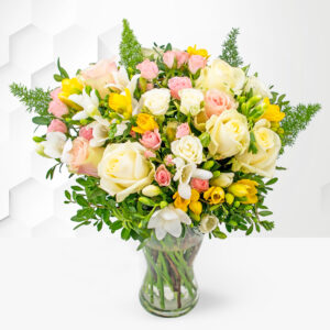 Rose and Freesia - Free Chocs - Flower Delivery - Next Day Flower Delivery - Birthday Flowers - Flowers By Post